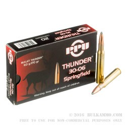20 Rounds of 30-06 Springfield Ammo by Prvi Partizan Thunder - 170gr SP