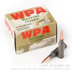 30 Rounds of 5.45x39mm Ammo by Wolf WPA Military Classic - 60gr FMJ