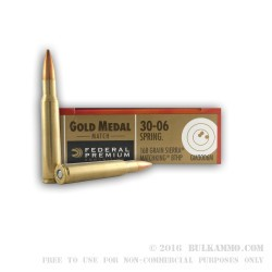 200 Rounds of 30-06 Springfield Ammo by Federal - 168gr HPBT MatchKing
