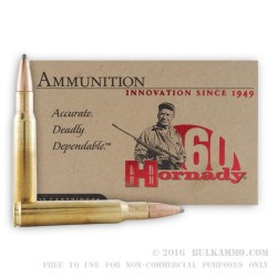 20 Rounds of 30-06 Springfield Ammo by Hornady - 150gr SP