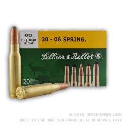 20 Rounds of 30-06 Springfield Ammo by Sellier & Bellot - 180gr SPCE
