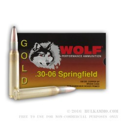 20 Rounds of 30-06 Springfield Ammo by Wolf Gold - 180gr SP