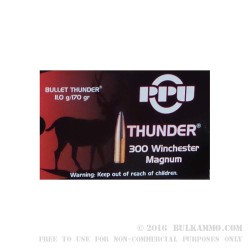 20 Rounds of .300 Win Mag Ammo by Prvi Partizan Bullet Thunder - 170gr PSP