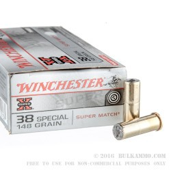 50 Rounds of .38 Spl Ammo by Winchester Super-X - 148gr Lead Wadcutter