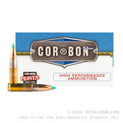 20 Rounds of .300 AAC Blackout Ammo by Corbon - 125gr Polymer Tipped