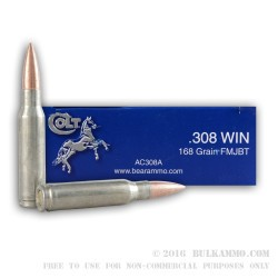 20 Rounds of .308 Win Ammo by Colt (Barnaul) - 168gr FMJBT