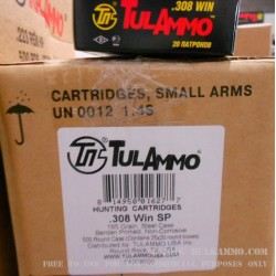 500  Rounds of .308 Win Ammo by Tula - 165gr SP