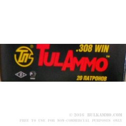 20 Rounds of .308 Win Ammo by Tula - 165gr SP