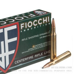 20 Rounds of .270 Win Ammo by Fiocchi - 130gr PSP