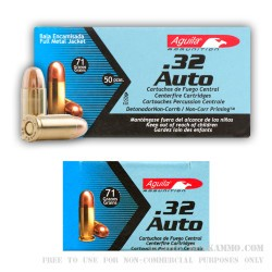 50 Rounds of .32 ACP Ammo by Aguila - 71gr FMJ