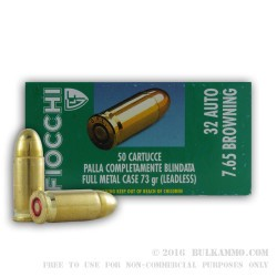1000 Rounds of .32 ACP Ammo by Fiocchi Leadless - 73gr FMJ