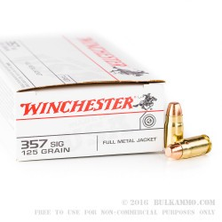 500  Rounds of .357 SIG Ammo by Winchester - 125gr FMJ