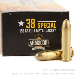 50 Rounds of .38 Spl Ammo by Armscor - 158gr FMJ