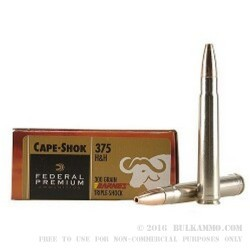 20 Rounds of .375 H&H Mag Ammo by Federal - 300gr Triple Shock X
