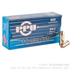 50 Rounds of 10mm Ammo by Prvi Partizan - 170gr FPJ