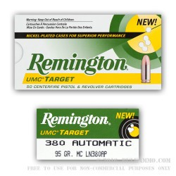 500 Rounds of .380 ACP Nickel Plated Ammo by Remington - 95gr MC