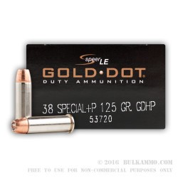 1000 Rounds of .38 Spl Ammo by Speer - 125gr JHP