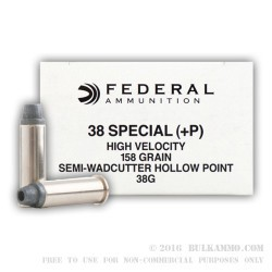 1000 Rounds of .38 Spl +P Ammo by Federal LE - 158gr LSWCHP