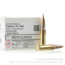 320 Rounds of .7.62x51mm Ammo by MEN - 147gr FMJ