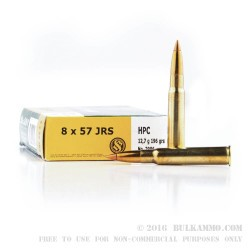 20 Rounds of 8x57mm JRS Mauser Ammo by Sellier & Bellot - 196gr Capped Hollow Point