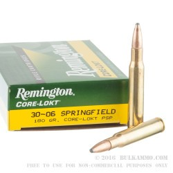 20 Rounds of 30-06 Springfield Ammo by Remington - 180gr PSP
