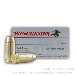 100 Rounds of .40 S&W Ammo by Winchester - 165gr FMJ