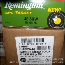 250 Rounds of .40 S&W Nickel Plated Ammo by Remington - 165gr MC