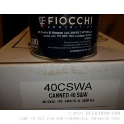 100 Rounds of .40 S&W Canned Heat Ammo by Fiocchi - 170gr FMJ