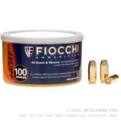 100 Rounds of .40 S&W Canned Heat Ammo by Fiocchi - 180gr FMJ