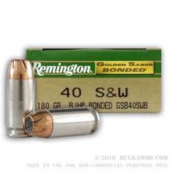 50 Rounds of .40 S&W Ammo by Remington Golden Saber Bonded - 180gr JHP
