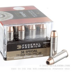 20 Rounds of .38 Spl Ammo by Federal Hydra Shok - 110gr JHP