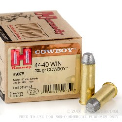 20 Rounds of .44-40 Win Ammo by Hornady - 205 Grain LFN