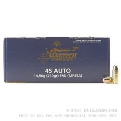 250 Rounds of .45 ACP Ammo by Magtech - 230gr FMC