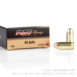 250 Rounds of .45 ACP Ammo by PMC - 230gr FMJ