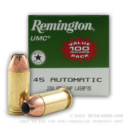 600 Rounds of .45 ACP Ammo by Remington - 230gr JHP