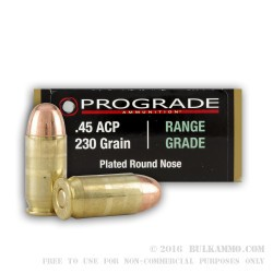 50 Rounds of .45 ACP Ammo by ProGrade Ammunition - 230gr CPRN