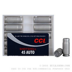 10 Rounds of .45 ACP Ammo by CCI - 120gr #9 shot
