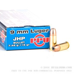 50 Rounds of 9mm Ammo by Prvi Partizan - 115gr JHP