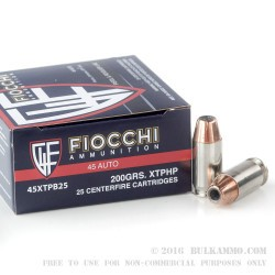 25 Rounds of .45 ACP Ammo by Fiocchi - 200gr JHP