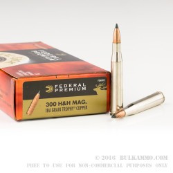 20 Rounds of .300 H&H Mag Ammo by Federal - 180gr JHP