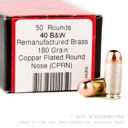 1000 Rounds of .40 S&W Ammo by BVAC Remanufactured - 180gr CPRN