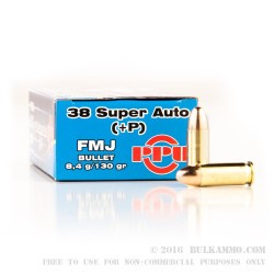 500 Rounds of .38 Super +P Ammo by Prvi Partizan - 130gr FMJ