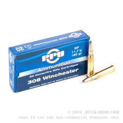 20 Rounds of .308 Win Ammo by Prvi Partizan - 180gr SP