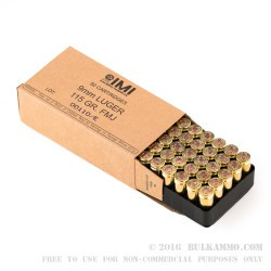 1000 Rounds of 9mm Ammo by Israeli Military Industries - 115gr FMJ