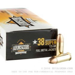 50 Rounds of .38 Super Ammo by Armscor - 125gr FMJ