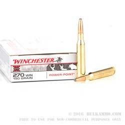 20 Rounds of .270 Win Ammo by Winchester - 150gr PP