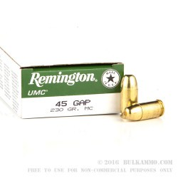 500  Rounds of .45 GAP Ammo by Remington - 230gr MC