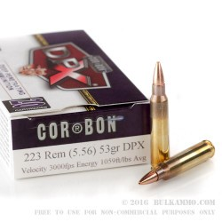 20 Rounds of .223 Ammo by Corbon - 53gr DPX