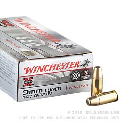 500  Rounds of 9mm Ammo by Winchester - 147gr BEB