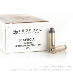 1000 Rounds of .38 Spl Ammo by Federal Law Enforcement - 158gr LSWC